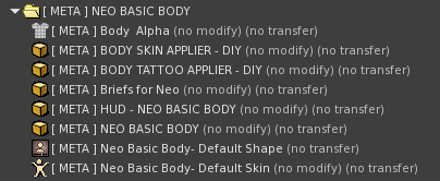 A list of what comes with the META Neo Basic Body