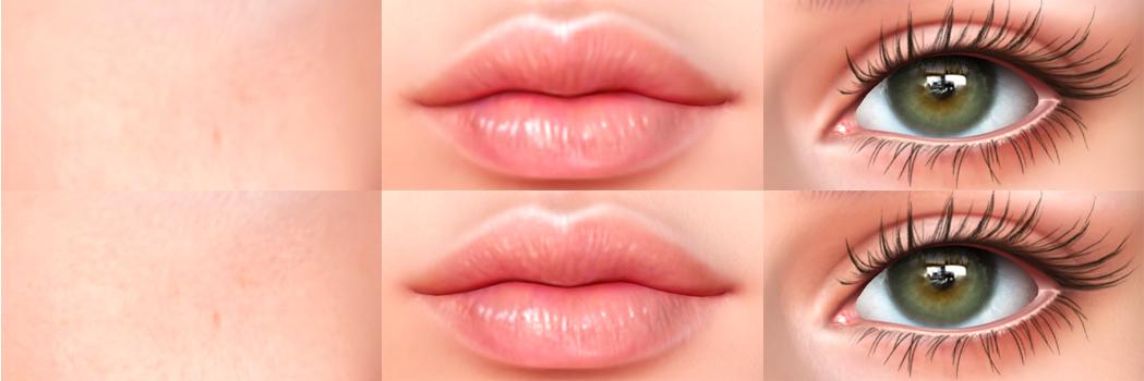 Close ups on cheek skin, lips, and eyes comparing LeLutka Evo X and LeLutka Evo skins.